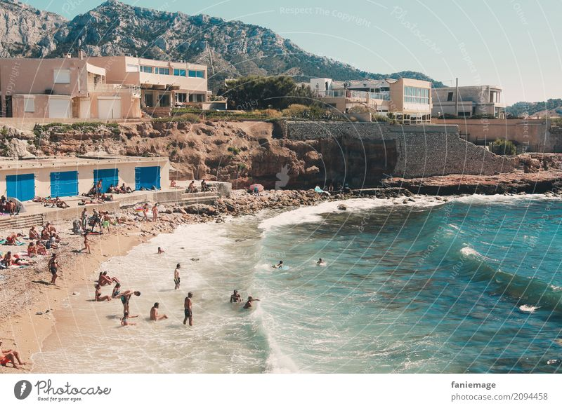 summer memories Nature Beautiful weather Waves Coast Beach Marseille France Provence Summer Summery Hot Human being Swimming & Bathing Warmth Relaxation
