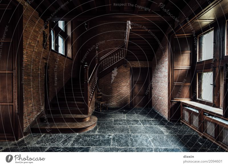 insides House (Residential Structure) Manmade structures Building Architecture Stairs Window Door Old Authentic Brown Gray Colour photo Interior shot Deserted