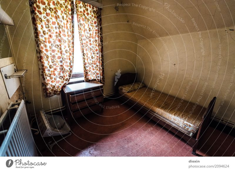 Old Window Living or residing Room Authentic Broken Bed Decline Trashy Drape Heating Sink lost places