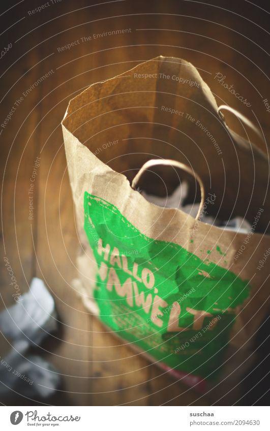 hello garbage Paper Wastepaper basket paper bag Shopping Trash Throw away Household shopping bag Environment environmental awareness wooden floor