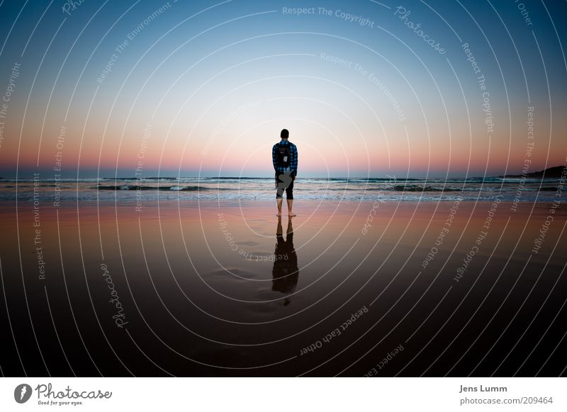 Back Home Relaxation Calm Vacation & Travel Far-off places Freedom Beach Masculine 1 Human being Sunrise Sunset Ocean Looking Stand Happy Infinity Blue Red