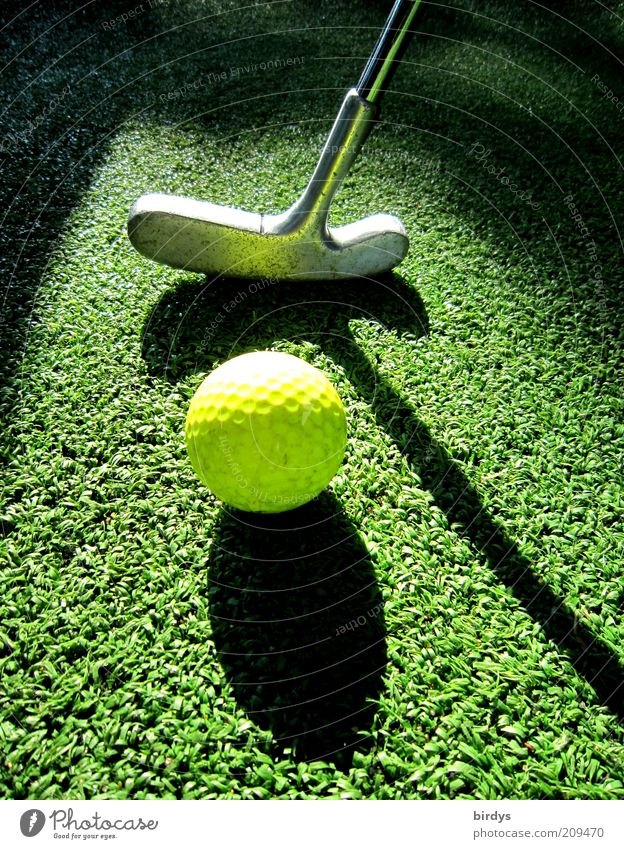Golf 2 Leisure and hobbies Playing Mini golf Golf course Sports Yellow Green Black Esthetic Concentrate Golf ball Golf club Visual spectacle Shadow