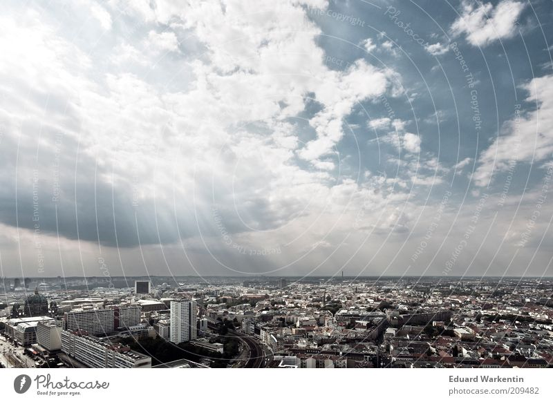 Sky over Berlin Capital city Overpopulated High-rise Manmade structures Building Architecture Town Clouds Sunbeam Beam of light Downtown Berlin Large Overview