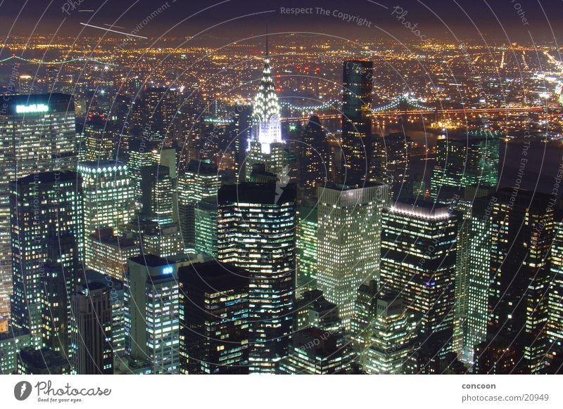 Lighting Architecture High-rise USA Vantage point Skyline Illuminate New York City Impressive Night shot Overview City trip Urbanization City light