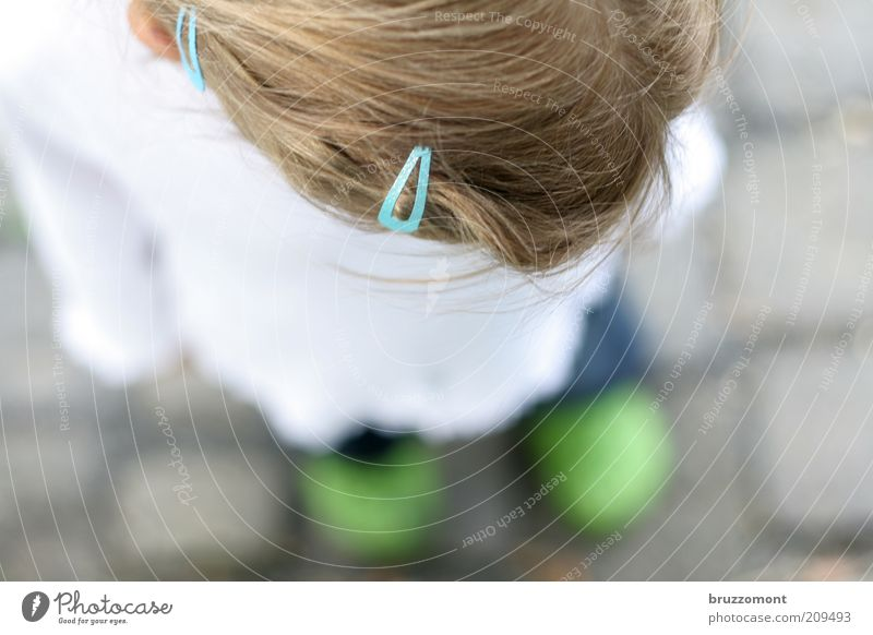 Human being Child Blue Green Girl Emotions Head Hair and hairstyles Sadness Think Dream Feet Infancy Blonde Stand Gloomy