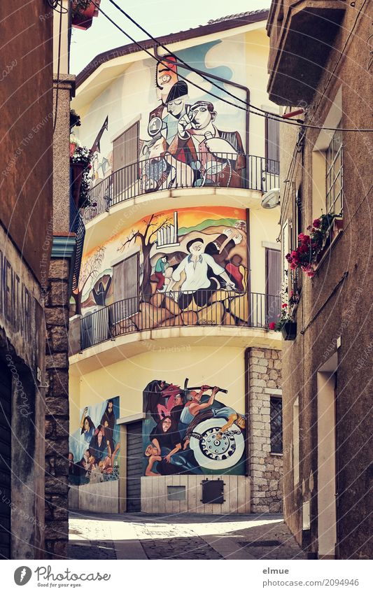wall type Art Work of art orgosolo Sardinia Southern Europe Small Town Downtown Old town House (Residential Structure) Tourist Attraction Landmark Uniqueness