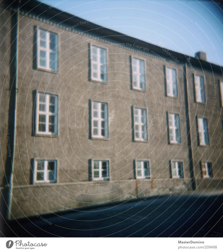 79 Deserted House (Residential Structure) Wall (barrier) Wall (building) Facade Window Roof Eaves Gray Colour photo Exterior shot Lomography Holga