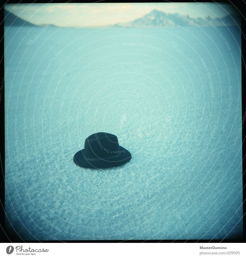Hats off! Far-off places Freedom Landscape Mountain Desert Salt flats Fashion Accessory Exceptional Infinity Blue Black Loneliness Uniqueness Mysterious
