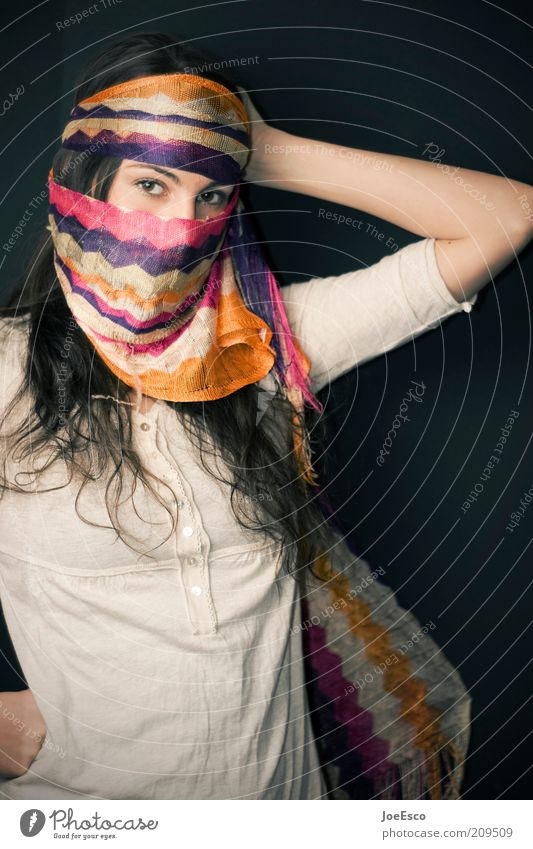 #209509 Lifestyle Playing Flirt Human being Woman Adults 1 Event Shows Fashion Scarf Brunette Long-haired Observe Cool (slang) Uniqueness Beautiful