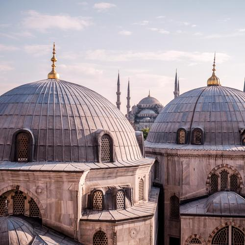 Town Religion and faith Architecture Building Gray Facade Gold Europe Manmade structures Tourist Attraction Landmark Monument Domed roof Turkey Islam Istanbul