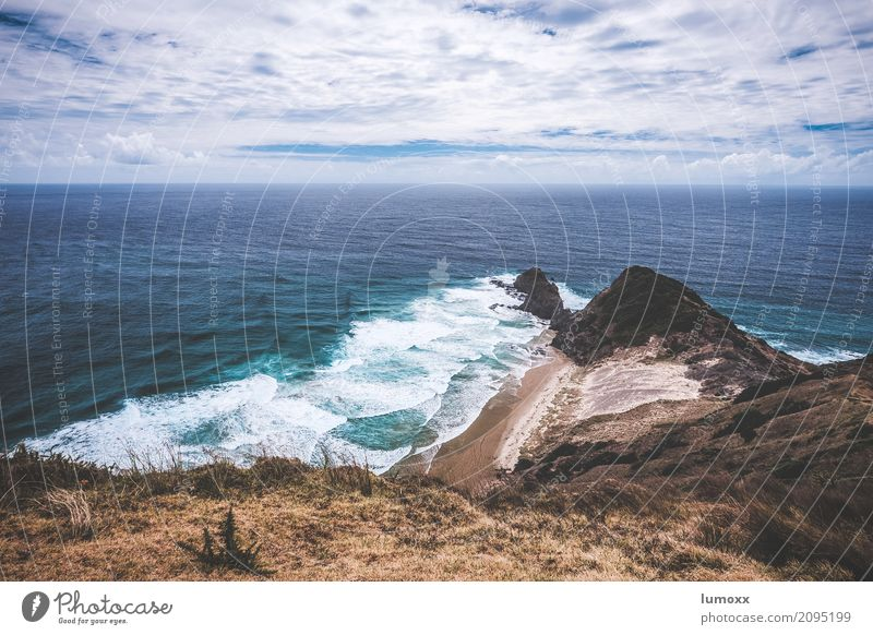 cape reinga Nature Landscape Elements Water Clouds Summer Coast Ocean Pacific Ocean Blue Brown New Zealand Remote Waves Beach North Island Colour photo