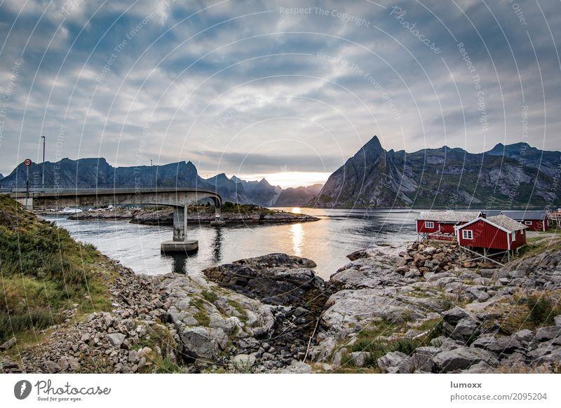 Blue Summer Landscape Ocean Red Clouds Mountain Gray Rock Bridge Peak Hut Scandinavia Fjord Lofotes Fishermans hut