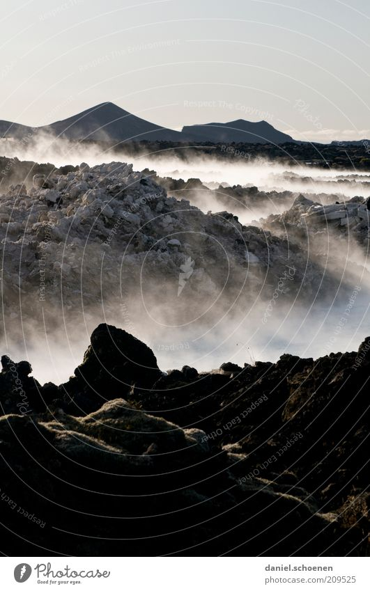 Water Vacation & Travel Far-off places Dark Landscape Environment Stone Earth Climate Elements Iceland Bizarre Steam Climate change Haze Volcano