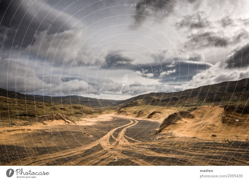 icelandic trails Nature Landscape Sand Air Sky Clouds Horizon Weather Beautiful weather Wind Grass Hill Rock River bank Traffic infrastructure Lanes & trails