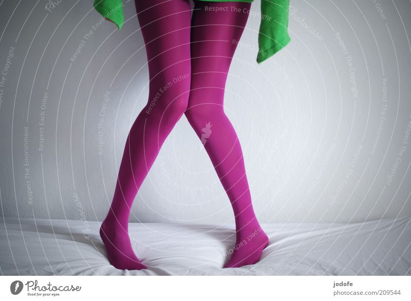 Woman Human being Youth (Young adults) Green Feminine Legs Adults Pink Stand Thin Whimsical Tights Timidity Stockings Lean