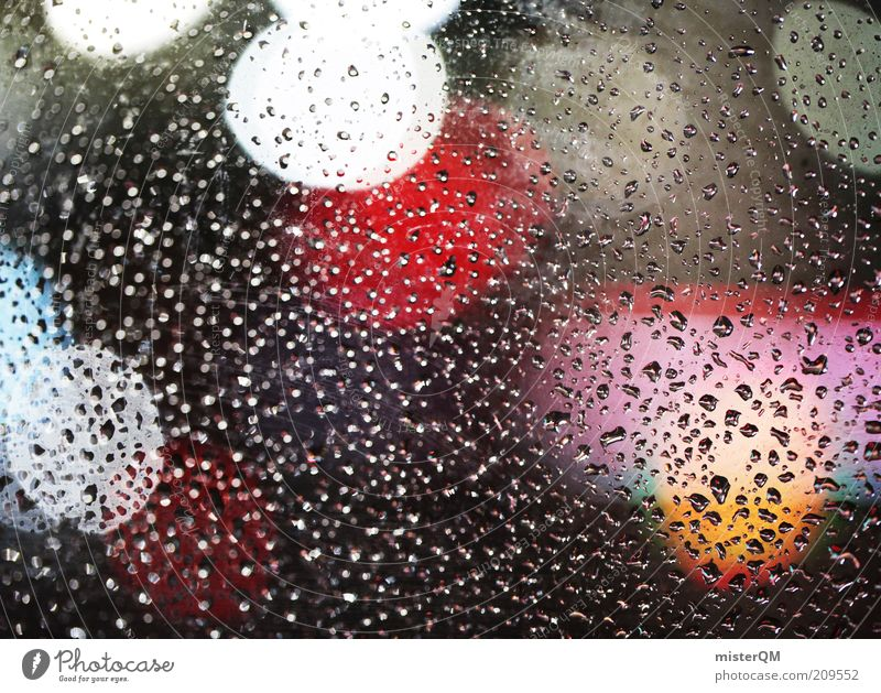 Rain Weather Wet Drops of water Esthetic Water Point Damp Window pane Slice Experimental Point of light Night shot Abstract
