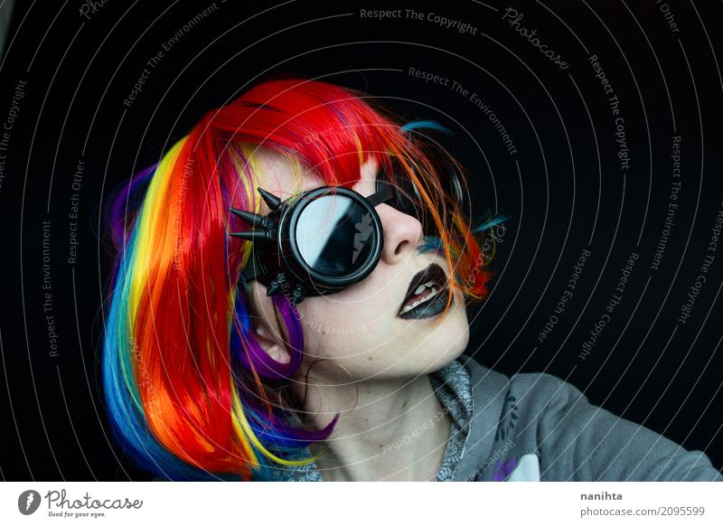 Punk woman with steampunk glasses Exotic Lipstick Human being Feminine Young woman Youth (Young adults) 1 18 - 30 years Adults Art Artist Culture Youth culture