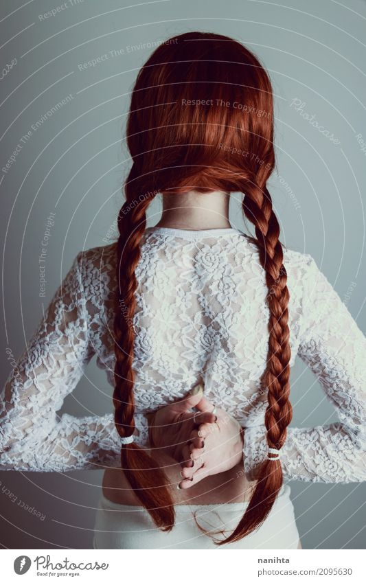 Back view of a young woman with redhead braids Lifestyle Elegant Style Body Hair and hairstyles Human being Feminine Young woman Youth (Young adults) 1