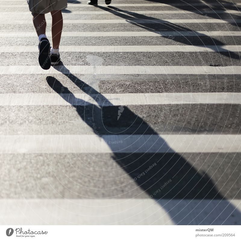 Just Walk. Human being Esthetic Stress Zebra crossing Pedestrian crossing Walking Future Ambiguous Academic studies Resume Black White Shadow Really