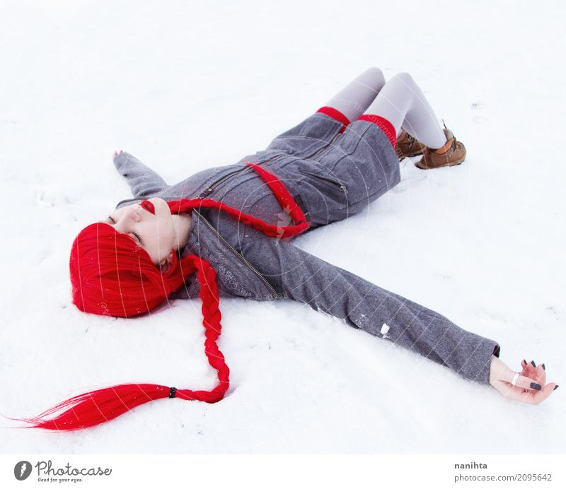 Young woman falling down in snow Human being Youth (Young adults) Beautiful White Red Winter 18 - 30 years Adults Cold Snow Feminine Art Exceptional Gray