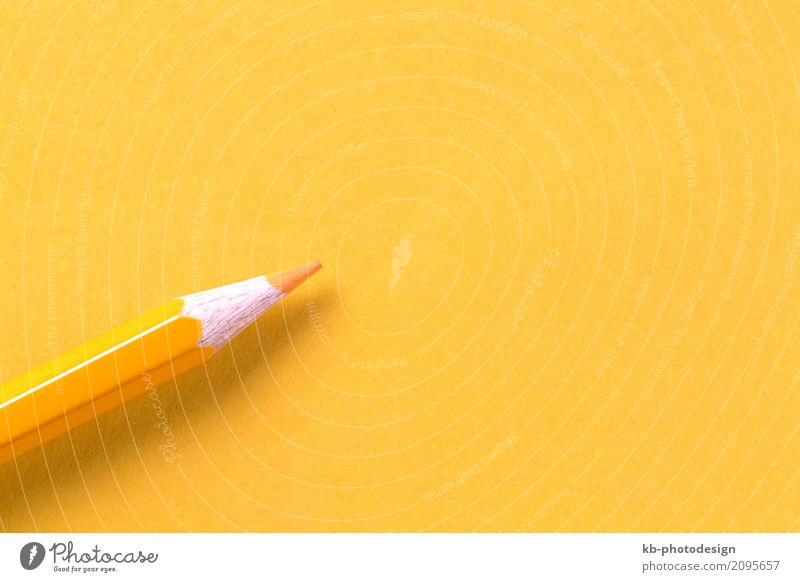 Yellow crayon on yellow paper, closeup Schoolchild Student Teacher Study Examinations and Tests Workplace Office Write colorful pen high school back to school