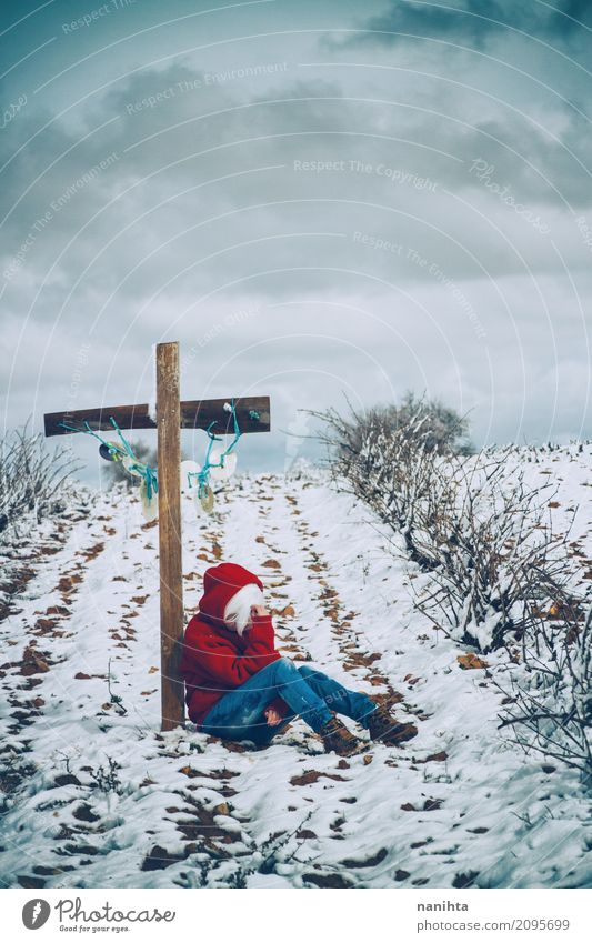 Young woman leaning on a cross in a snowy field Winter Funeral service Human being Feminine Youth (Young adults) Life 1 18 - 30 years Adults Nature Landscape