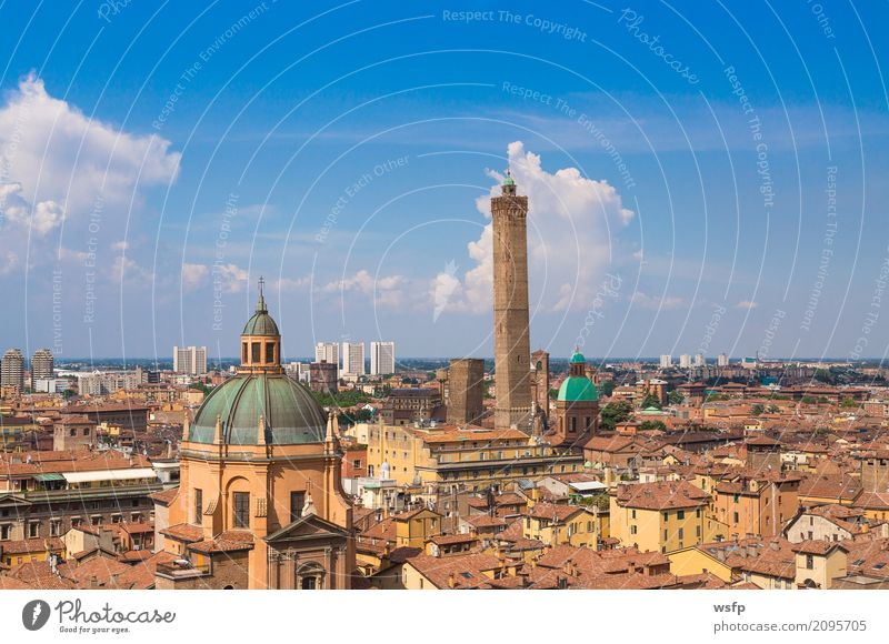 Panorama of Bologna Emilia Romagna Italy Tourism Town Tower Architecture Roof Tourist Attraction Historic panorama two Garisenda asinelli Domed roof Basilica