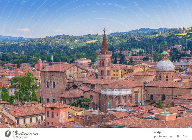 Panorama of Bologna Emilia Romagna Italy Tourism Town Architecture Roof Tourist Attraction Historic panorama Church Domed roof Basilica northern italy travel