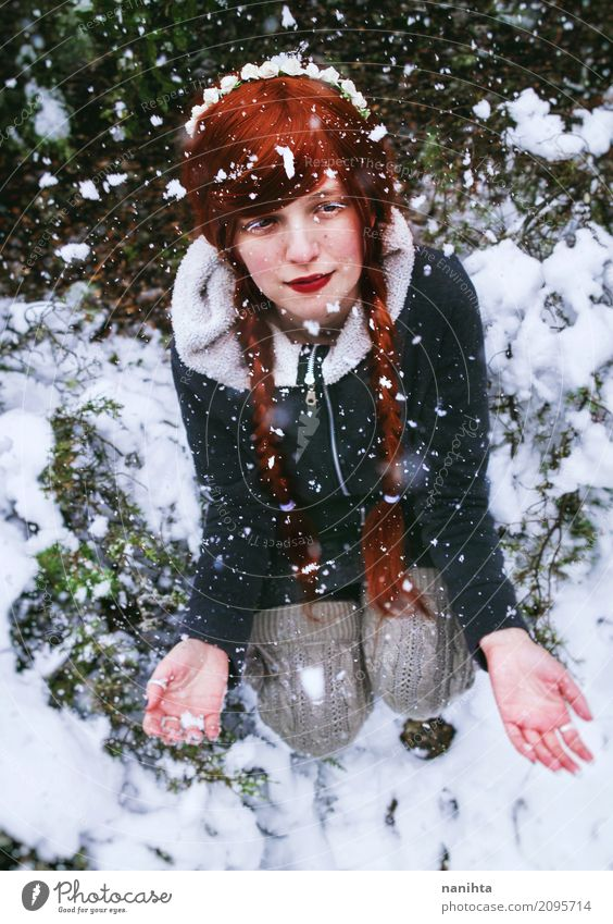 Young redhead woman enjoying a snowy day Human being Nature Vacation & Travel Youth (Young adults) Christmas & Advent Young woman White Red Winter 18 - 30 years