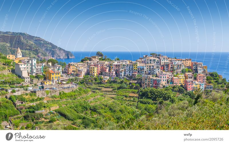 Corniglia Cinque Terre Liguria Italy Ocean Landscape Coast Village Old town Architecture Historic La Spezia travel panorama Europe Sunset Cliff Colour photo
