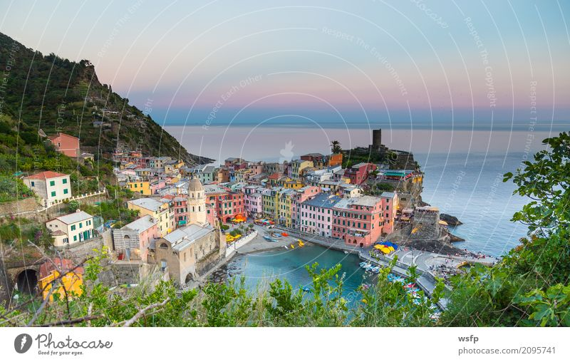 Vernazza at sunset Cinque Terre Liguria Italy Ocean Landscape Coast Village Old town Architecture Historic La Spezia Lighting travel panorama Europe Sunset