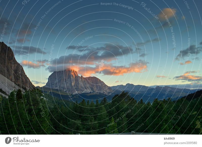 Sassolungo in the evening Nature Landscape Clouds Sunrise Sunset Beautiful weather Rock Alps Mountain Peak Relaxation Esthetic Natural Blue