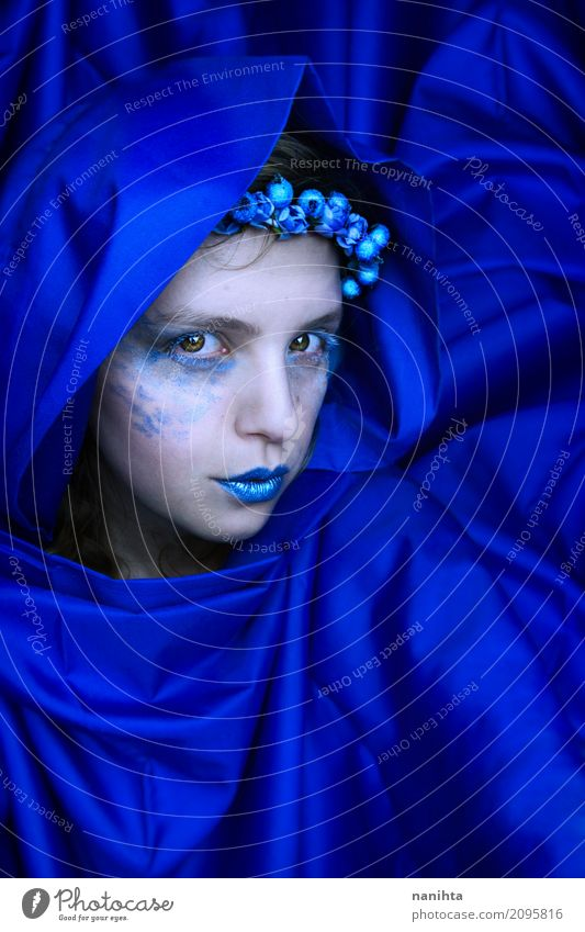 Mysterious blue woman Elegant Style Exotic Beautiful Skin Make-up Carnival Human being Feminine Young woman Youth (Young adults) 1 18 - 30 years Adults Art