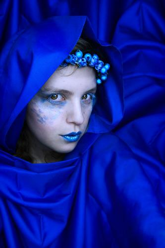 Mysterious blue woman Human being Youth (Young adults) Blue Young woman Colour Beautiful White Calm 18 - 30 years Adults Feminine Style Art Glittering Elegant