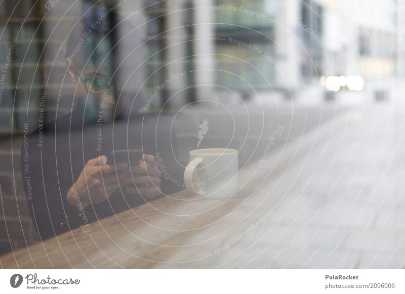 #A# Frosted glass 1 Human being Esthetic Coffee To have a coffee Coffee cup Coffee break Coffee mug Woman Cellphone Chat Internet Computer network Glass