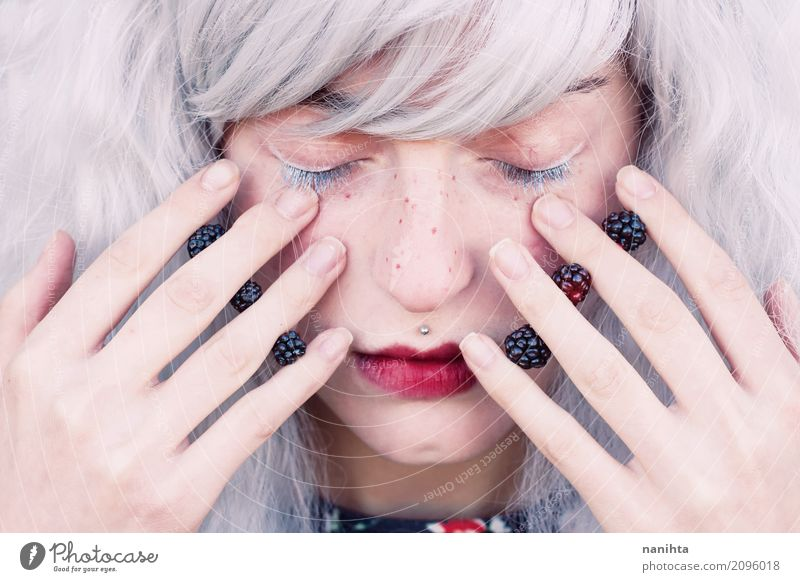 Young woman with white hair and blackberries in her hands Human being Youth (Young adults) Beautiful White Red Relaxation Calm 18 - 30 years Face Adults Healthy