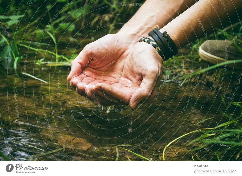 Holding fresh water Human being Nature Vacation & Travel Youth (Young adults) Summer Green Water Young man Hand 18 - 30 years Adults Life Environment Cold