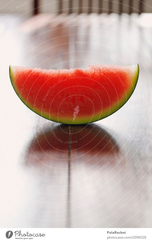 #AS# Melon red on brown Food Fruit Esthetic Derby Melone slice Red Part Table Eating Summer Colour photo Multicoloured Interior shot Studio shot Close-up Detail