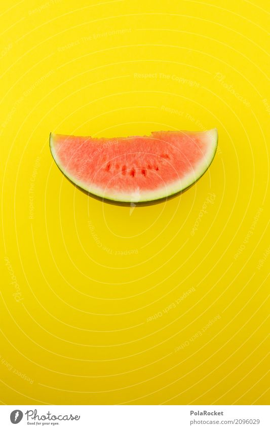 #AS# Melon red on yellow Food Fruit Esthetic Red Yellow Derby Fruit store Flashy Slice Part Quantity of pieces Delicious Healthy Eating Colour photo