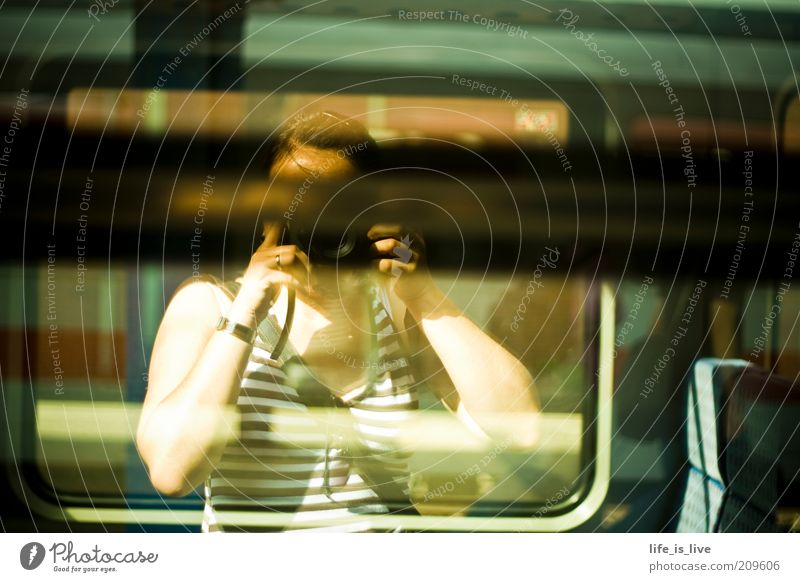 Railroad Target Profession Train station Goodbye Photographer Self portrait Take a photo Mirror image Snapshot Platform Depart Means of transport