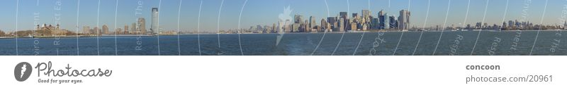 The 15832 Pixels Manhattan Skyline Panorama New York City High-rise Panorama (View) North America USA 180 degrees 360 degrees Ellis Island Vantage point Large