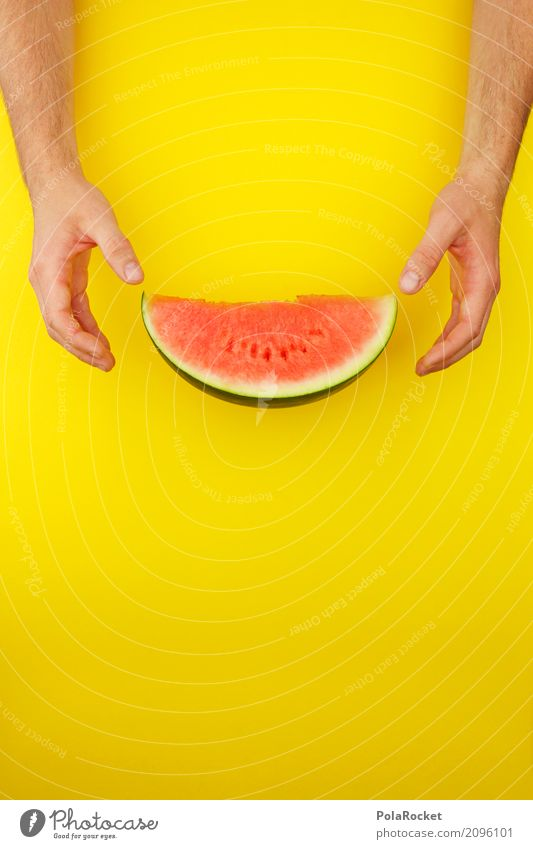 #AS# Melon red on yellow Art Esthetic Derby Melone slice Part To hold on Desire Appetite Delicious Red Yellow Flashy Gaudy Creativity Break Summer Colour photo