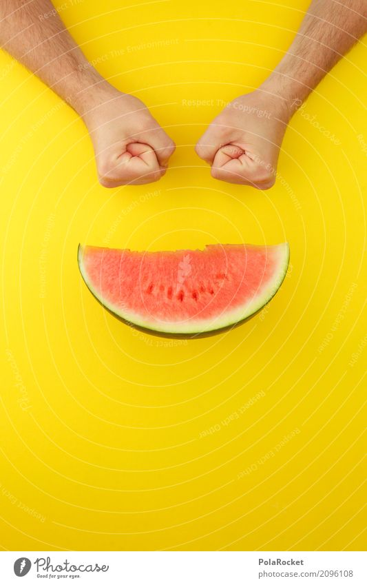 #AS# MelonSmiley Art Work of art Esthetic Derby Melone slice Yellow Flashy Yellowness Funny Creativity Absurdity Red Fruit Appetite Delicious Colour photo