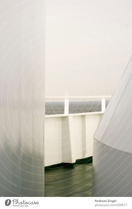 Sky White Ocean Vacation & Travel Far-off places Relaxation Gray Free Horizon Gloomy Navigation North Sea Ferry Bad weather Covered Railing