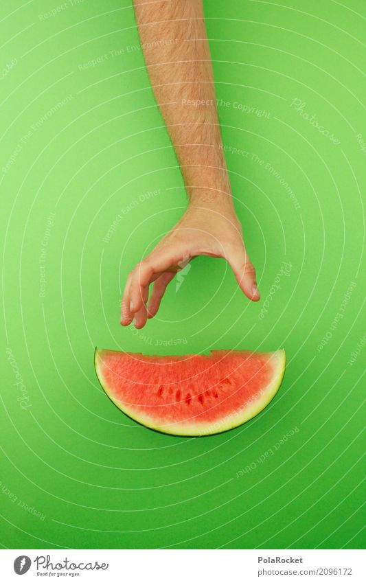 #AS# Creative break Art Esthetic Derby Melon Melone slice Green Red Part Fruit Fruit store Delicious Healthy Eating Colour photo Multicoloured Interior shot