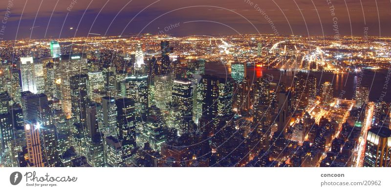 New york, new york. (panorama) New York City Empire State building Chrysler Building High-rise Light Pattern North America USA Street Skyline Town