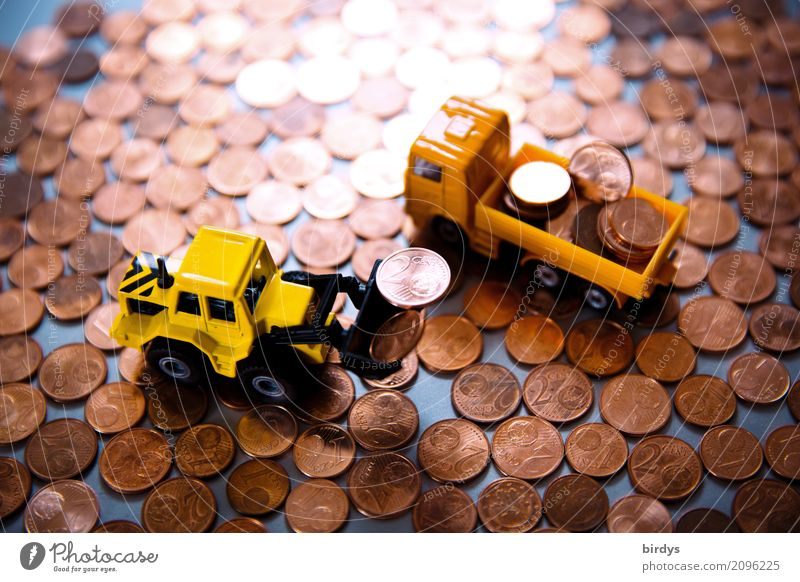 surplus Money Construction site Financial Industry Financial institution Truck Wheel loader Excavator shovel Coin Metal Digits and numbers Work and employment
