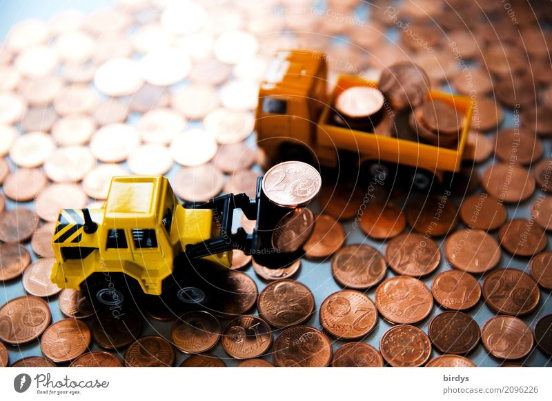Loading 1 and 2 cent coins Money Trade Construction site Financial Industry Financial institution Truck Wheel loader Toys Digits and numbers Work and employment