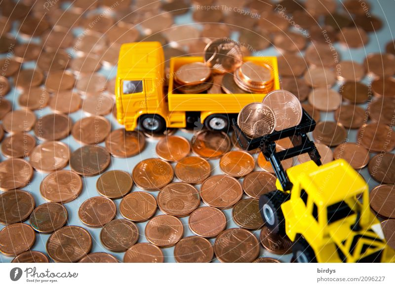 too much of a good thing Money Construction site Financial Industry Financial institution Truck Excavator Toys Digits and numbers Work and employment Yellow Red