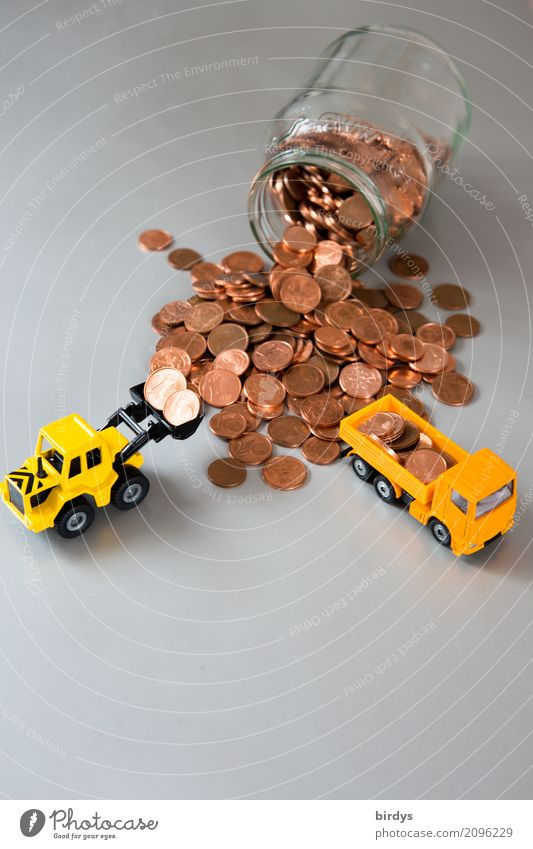 superfluous Money Save Trade Financial Industry Financial institution Truck Wheel loader Excavator shovel Metal Digits and numbers Work and employment